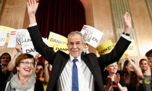 Alexander van der Bellen waving to supporters at the Palais Auersperg in Vienna after the Austrian presidential elections runoff