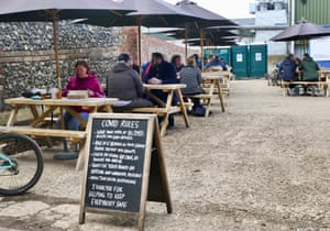 The Loddon Brewery Tap shop with social distancing measures put in place in Dunsden Green, Oxfordshire.