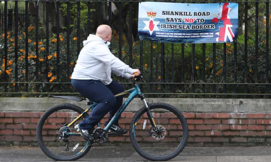 A sign protesting against the Northern Ireland protocol on Belfast's Shankill Road, 20 April 2021.