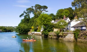 Kayakers on the River Helford in Cornwall.