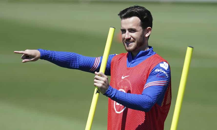 Ben Chilwell gesturing during training with England ahead of the start of Euro 2020