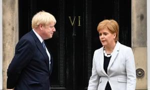 Boris Johnson and Nicola Sturgeon outside Bute House, Edinburgh.
