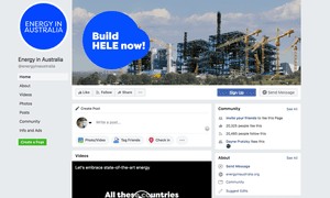 The Energy in Australia Facebook page frequently posts in support of clean coal and attacks renewables. It was taken down after Guardian Australia questioned its link to Project Caesar.
