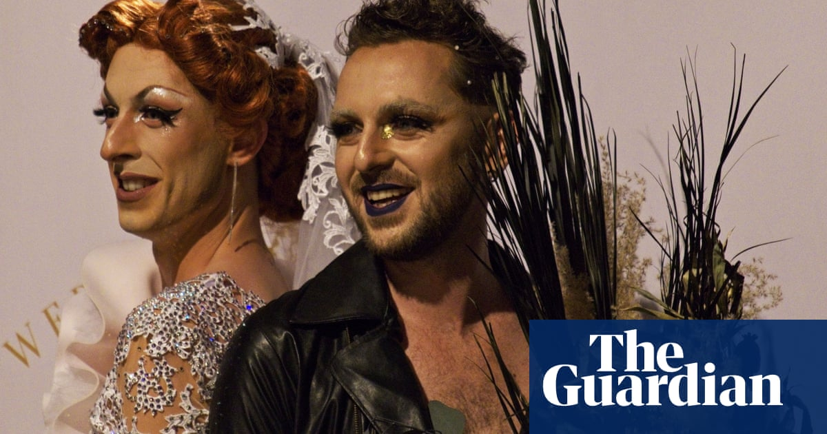 'We love everybody': the French drag couple making non-traditional wedding dresses