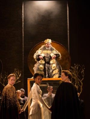 Antony Sher as King Lear, Nia Gqynne as Goneril, Natalie Simpson as Cordelia and Kelly Williams as Regan