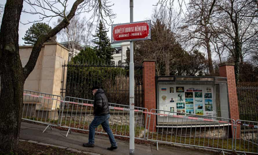 A street sign for Boris Nemtsov Square in front of the Russian embassy in Prague in February