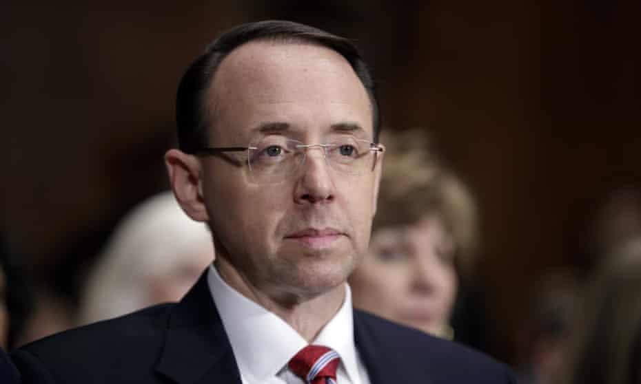 Rod Rosenstein, the deputy attorney general. Mark Warner, the highest-ranking Democrat on the Senate intelligence committee, said he had lost all confidence in Rosenstein.