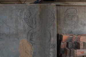 An image of Buddha drawn on the walls of a kiln