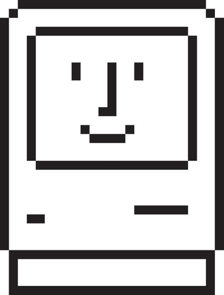 Friendly face … Susan Kare's Mac welcome icon greeted users booting up.