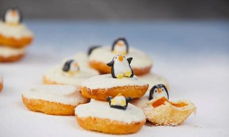 Raspberry Jaffa cake icebergs with mini penguins