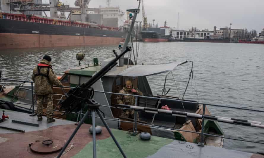 Ukraine's sea border security force mobilises on the Sea of Azov in Mariupol.