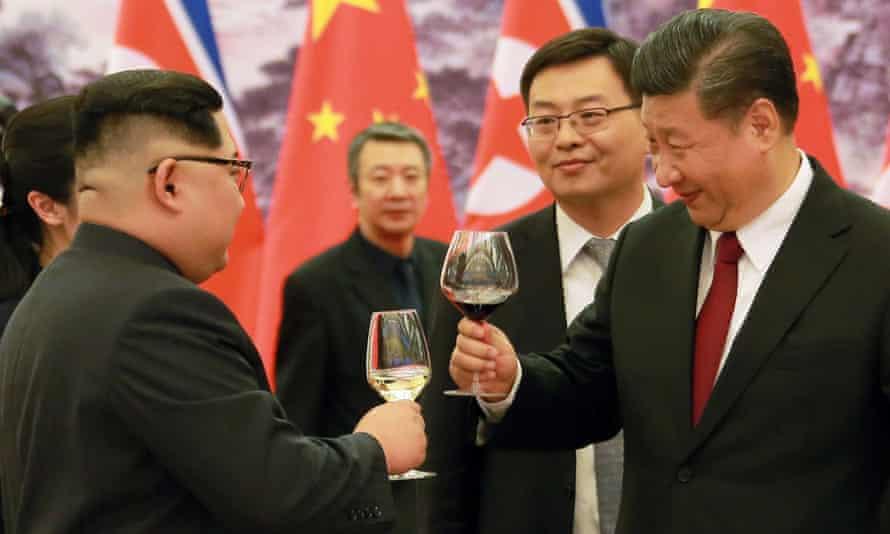 Kim Jong-un with Xi Jinping in China