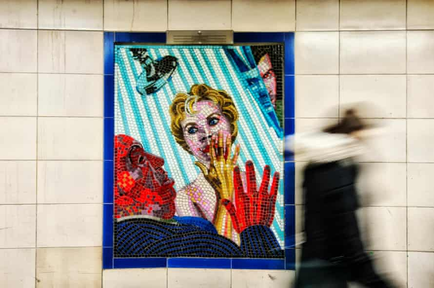 A Psycho mosaic in Leytonstone tube station, east London, Hitchcock's birthplace