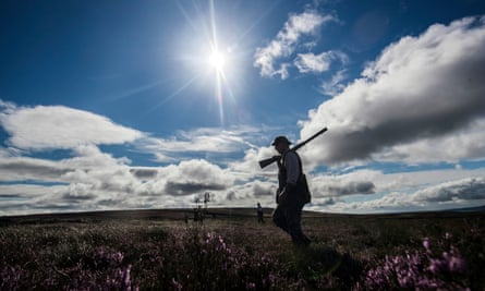 A member of a shooting party on Lofthouse Moor in North Yorkshire as the Glorious 12th, the official start of the grouse shooting season, gets underway.