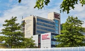 A shot of Sheffield Hallam University's main building