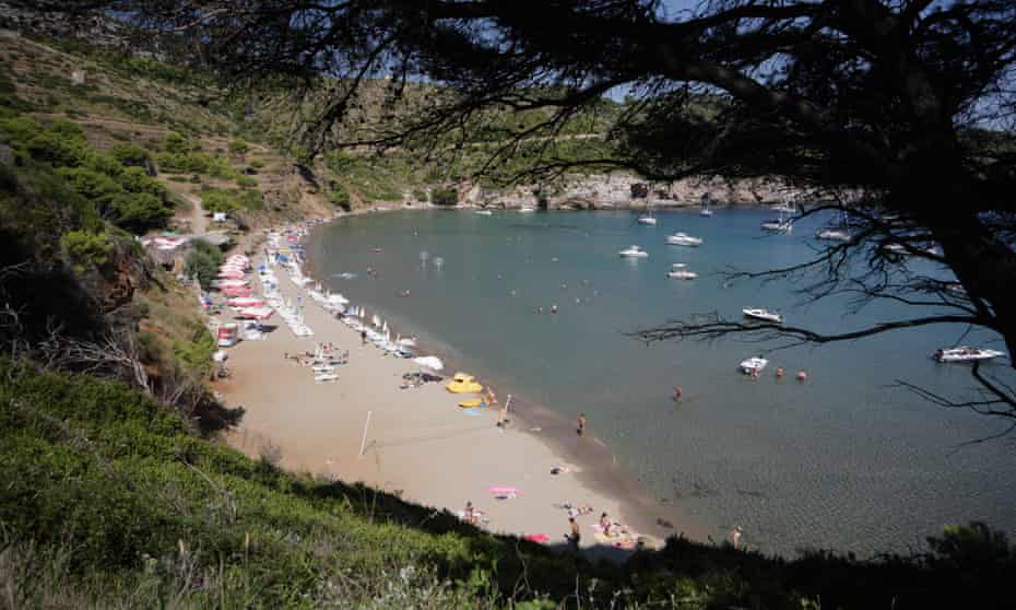 Sunj bay with the best beach on Lopud, one of the Elaphite Islands, near Dubrovnik, Croatia