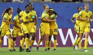 Havana Solaun (centre) celebrates after rounding Australia goalkeeper Lydia Williams to score Jamaica's first ever World Cup goal.
