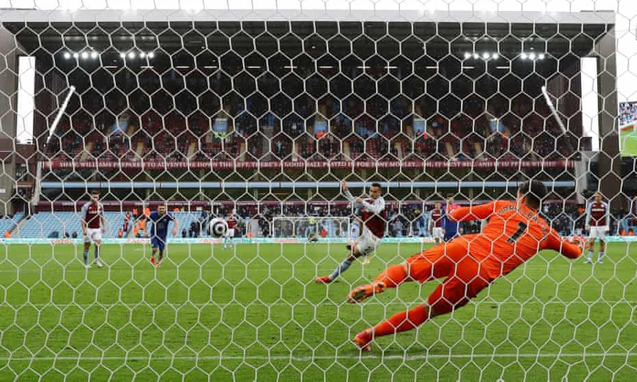 Anwar El Ghazi sends Kepa Arrizabalaga the wrong way from the penalty spot.