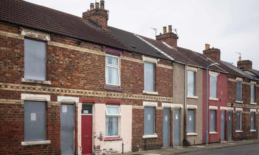 Boarded-up housing in Middlesbrough