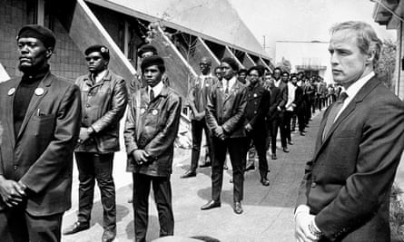 Marlon Brando at a Black Panther memorial rally in 1968 for the young Panther Bobby Hutton, who was killed by police.