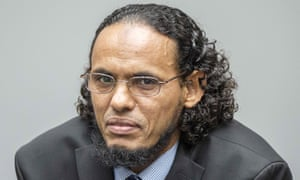Ahmad al-Faqi al-Mahdi at his trial on charges of involvement in the destruction of historic mausoleums in Timbuktu.