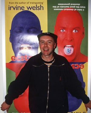 Irvine Welsh signing his book Ecstasy at Virgin Megastore in London in 1996