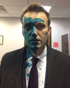Alexei Navalny after having green dye thrown in his face, the second such attack he has suffered this year.