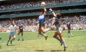 """Argentina's Diego Maradona scores his """"Hand of God"""" goal against England goalkeeper Peter Shilton in Fifa 1986 World cup quarter-final."""