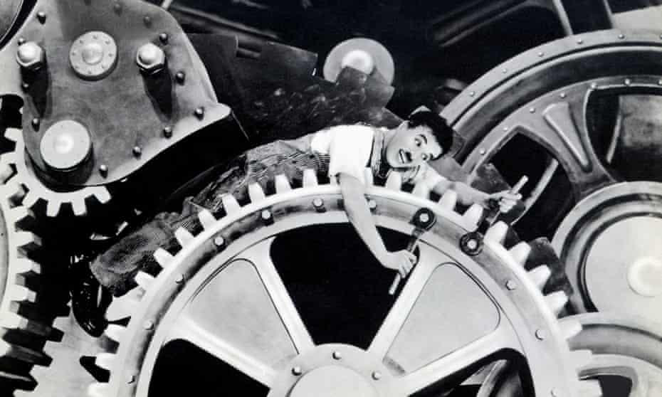 Charlie Chaplin 'satirising the cult of scientific management' in 1936 film Modern Times.