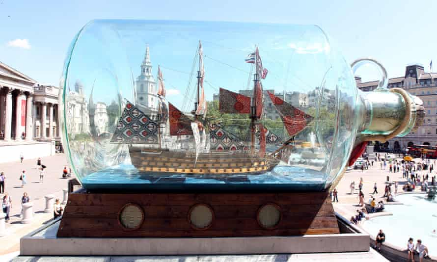 Yinka Shonibare's Nelson's Ship in a Bottle on the fourth plinth in Trafalgar Square in 2010.