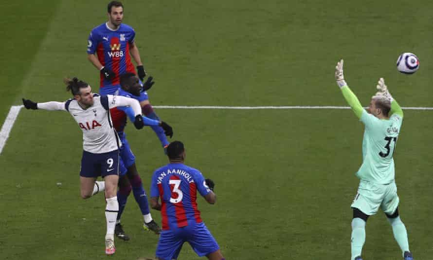 Gareth Bale scores Tottenham's second goal.