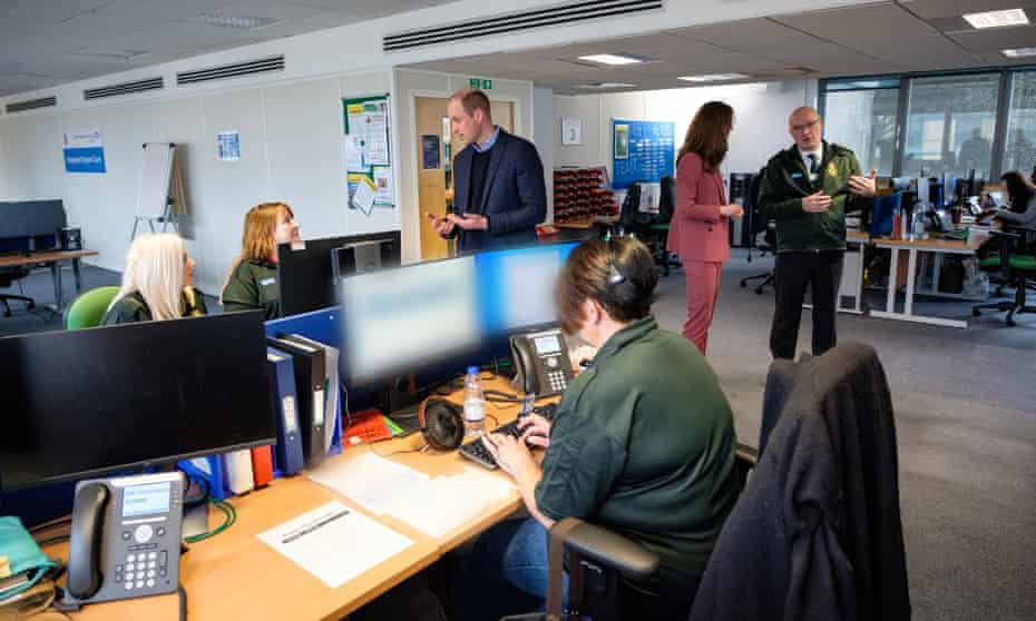 The Duke And Duchess Of Cambridge Visit The London Ambulance Service 111 Control Room
