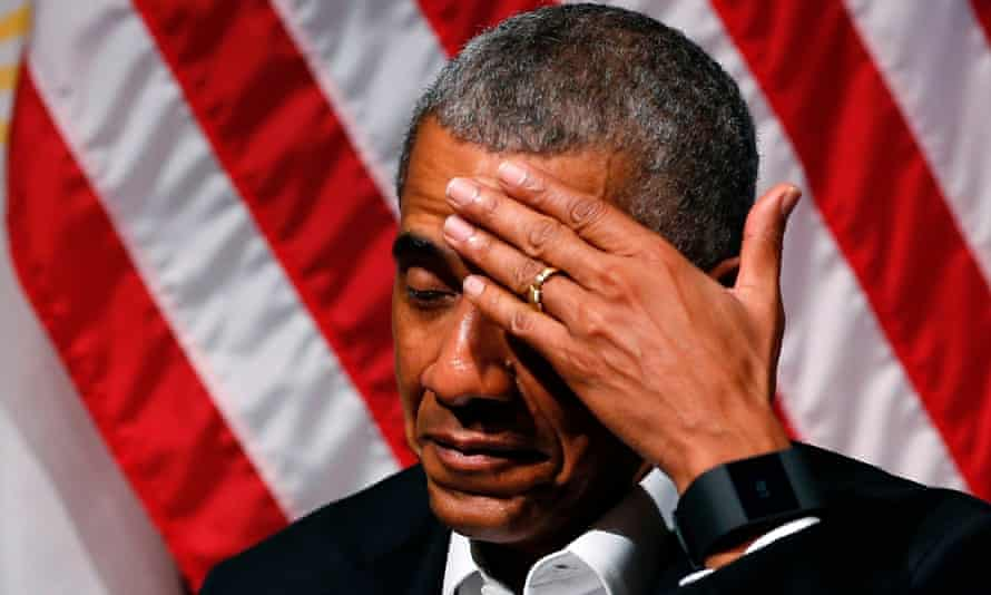 Barack Obama jokingly wipes his brow during a forum with young leaders in Chicago.