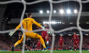 Mohamed Salah of Liverpool scores his second goal of the night to make it 4-3.