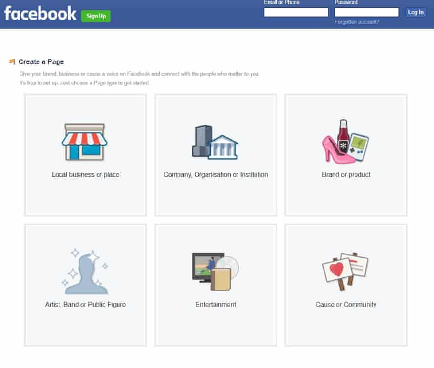 Facebook's Create a Page function