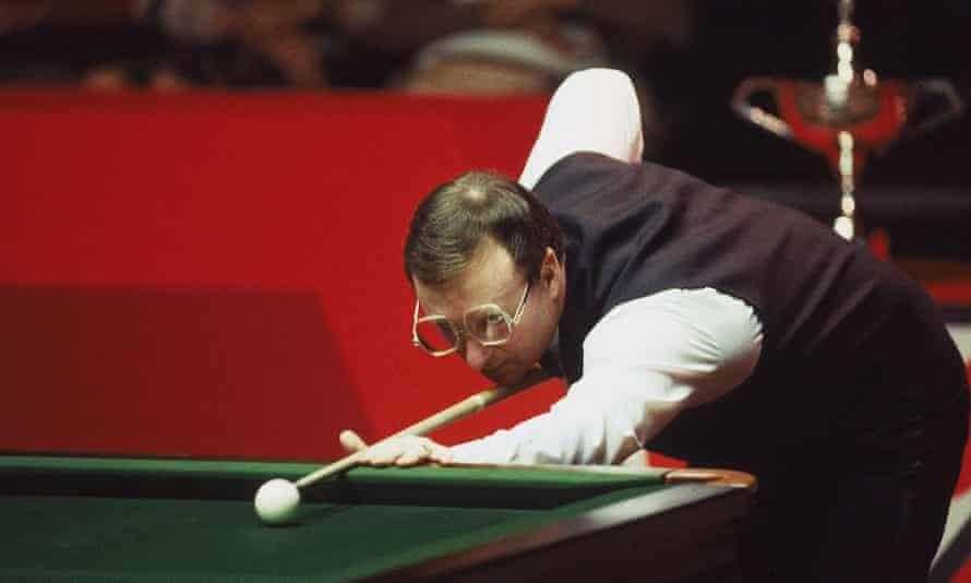 Dennis Taylor in action during the 1985 Embassy World Snooker Championship Final at the Crucible Theatre in Sheffield, England. Taylor beat Steve Davis 18-17 in a dramatic black ball finish.