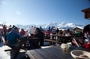 Lunchtime on the slopes.