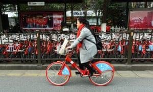 The public bike share in Hangzhou.
