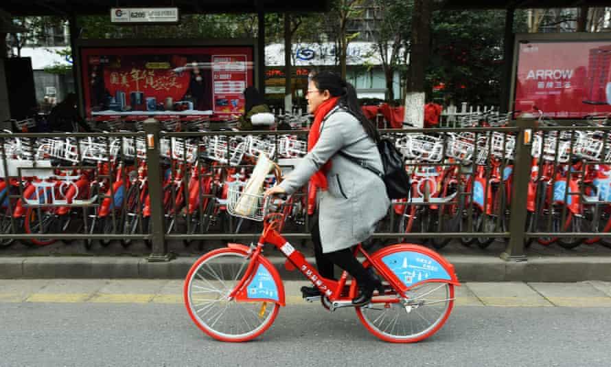 The public bike share in Hangzhou.