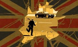 An illustration of a businessman running away from a broken window towards an expensive car, holding a box full of stolen goods