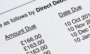 Close up view of a bill showing Direct Debit payments due to be paid