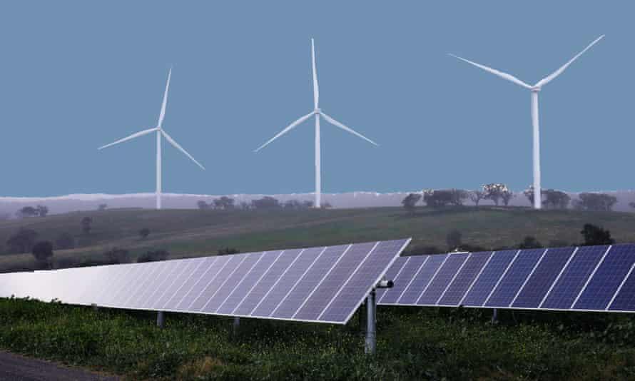 Solar panels and a farm wind farm composite Australia.