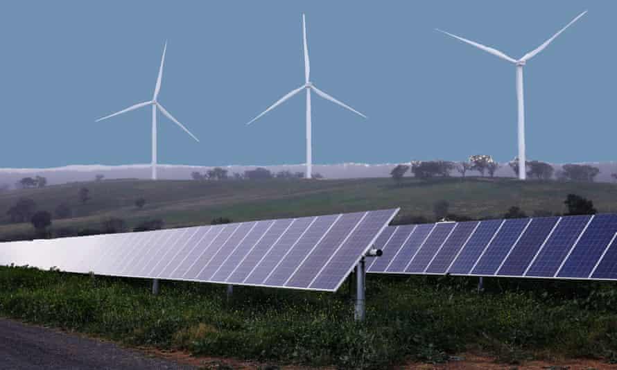 Solar panels and a wind farm