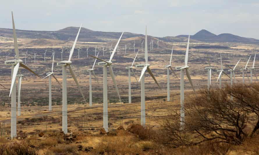 Power-generating wind turbines in Loiyangalani in northern Kenya.
