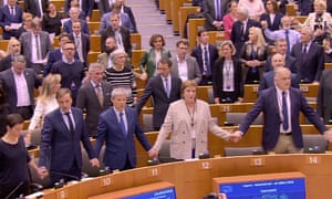 MEPs singing Auld Lang Syne after passing withdrawal agreement