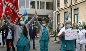 healthcare workers protesting in the Piedmont region of Italy.