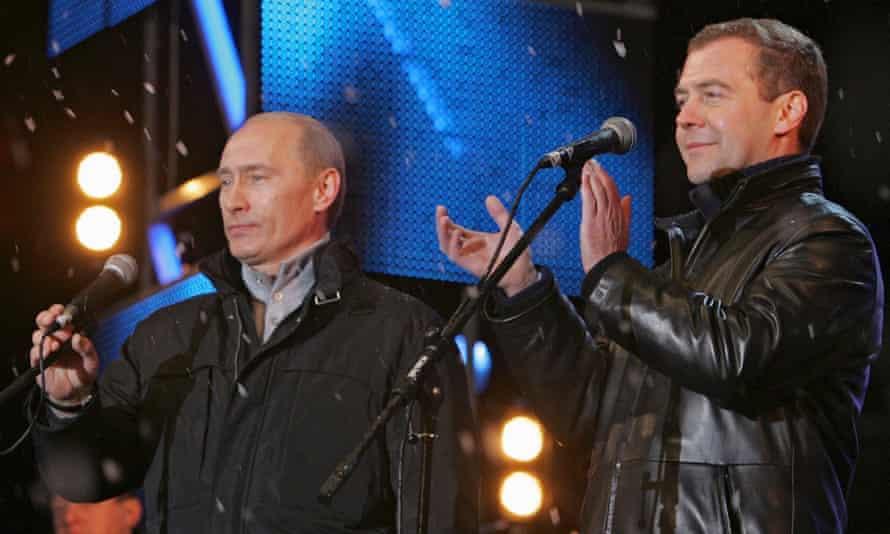 Vladimir Putin Dmitry Medvedev Red Square 2008.