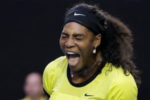 A struggling Serena Williams screams as she celebrates a point.