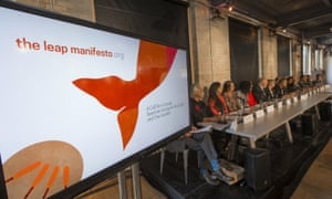 The panel for 'Leap Manifesto: A Call for a Canada Based on Caring for the Earth and One Another' at a conference in Toronto.