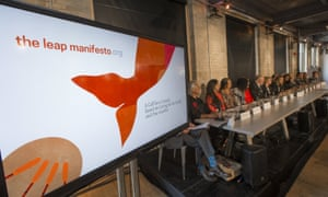 """The panel sits during a news conference to launch the """"Leap Manifesto: A Call for a Canada Based on Caring for the Earth and One Another """" in Toronto, September 15, 2015. The Leap Manifesto is a group consisting of activists, artists, and celebrities that call for strong environmental policy changes and initiatives."""
